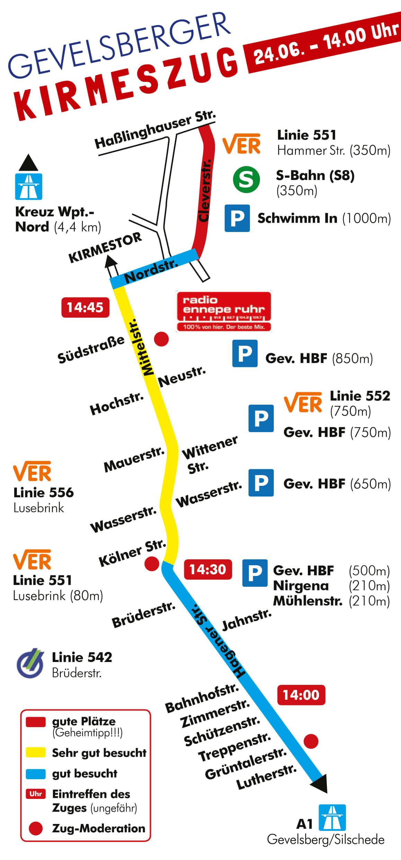 Gevelsberger Kirmeszug - Zugstrecke