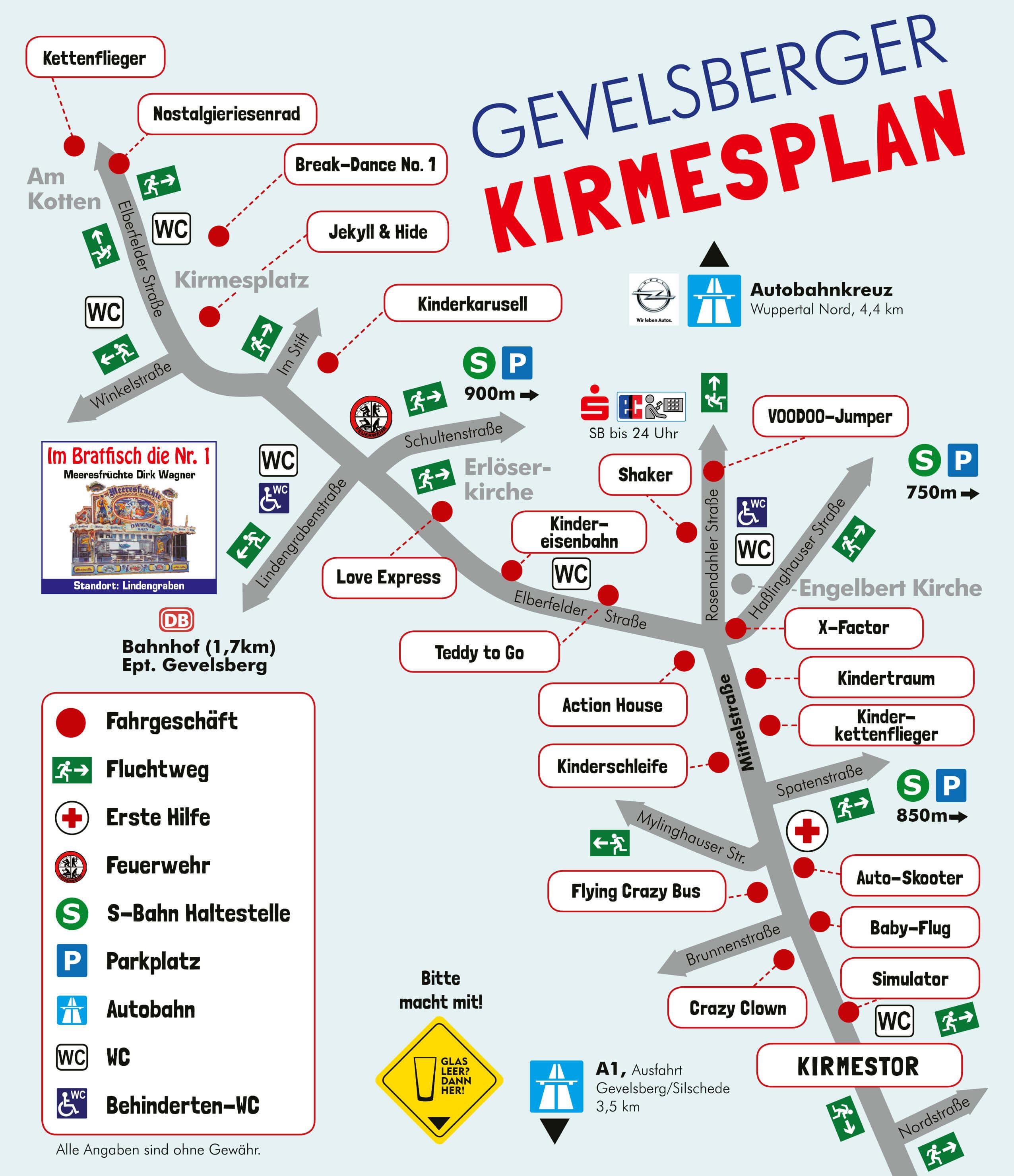 Der Plan zur Gevelsberger Kirmes 2019 | Fahrgeschäfte und mehr | schraegekirmes.de
