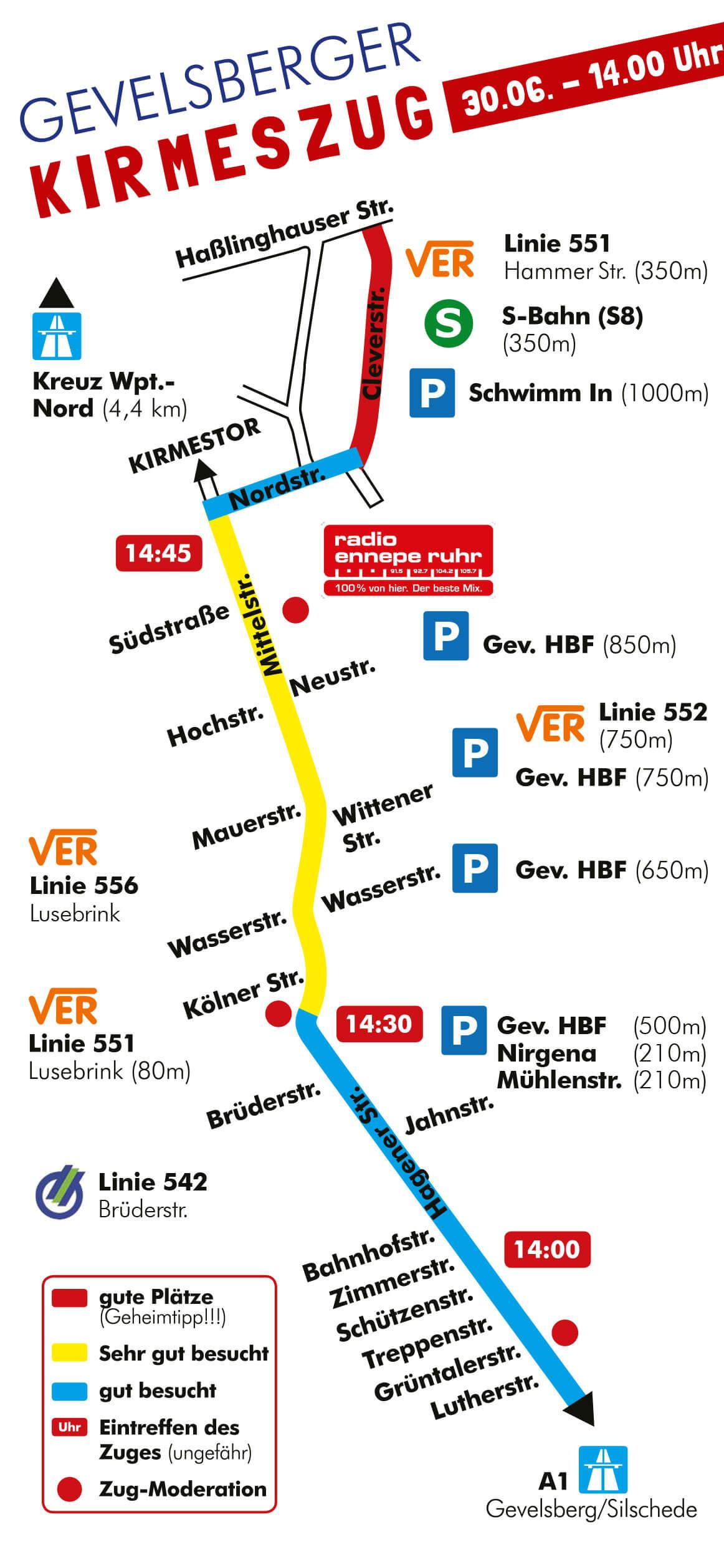 Zugverlauf des Gevelsberger Kirmeszuges 2019